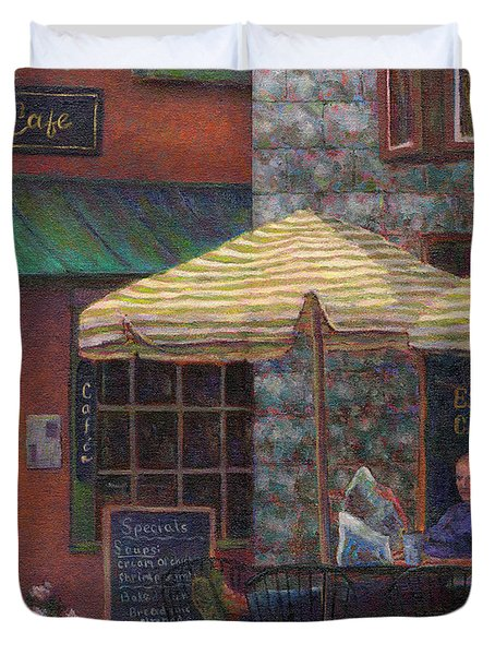 Relaxing At The Cafe Duvet Cover by Susan Savad