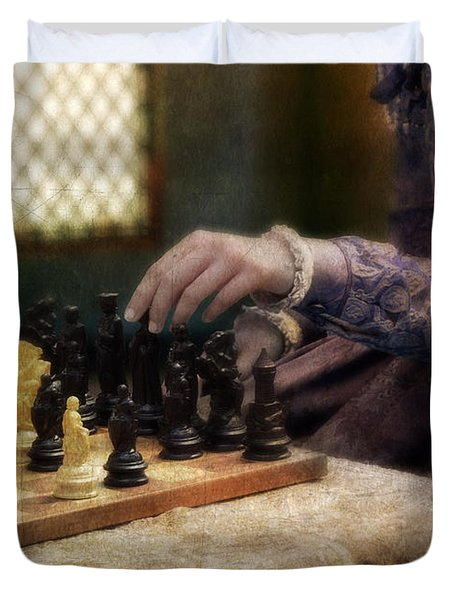 Renaissance Lady Playing Chess Duvet Cover by Jill Battaglia