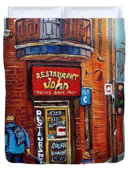 Restaurant John Montreal Duvet Cover by Carole Spandau