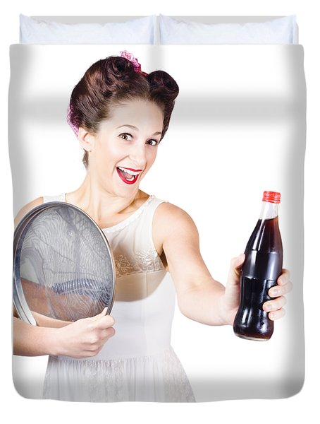 Retro Pin-up Girl Giving Bottle Of Soft Drink Duvet Cover by Jorgo Photography - Wall Art Gallery