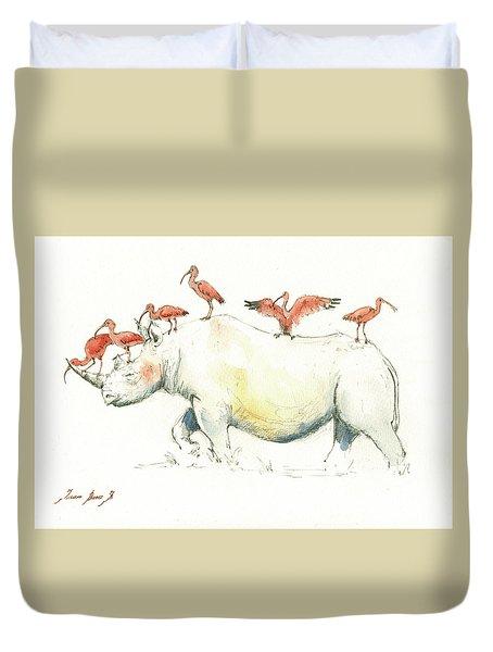 Rhino And Ibis Duvet Cover by Juan Bosco