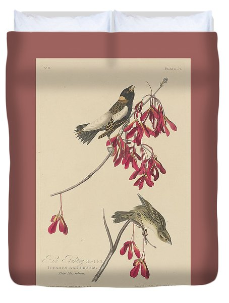 Rice Bunting Duvet Cover by John James Audubon