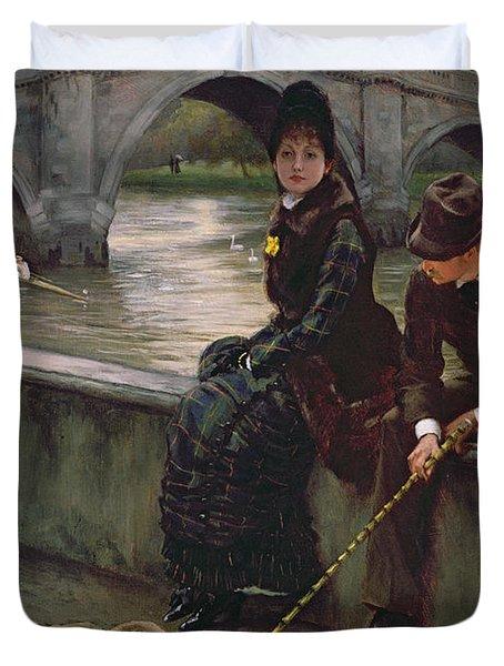 Richmond Bridge Duvet Cover by James Jacques Joseph Tissot