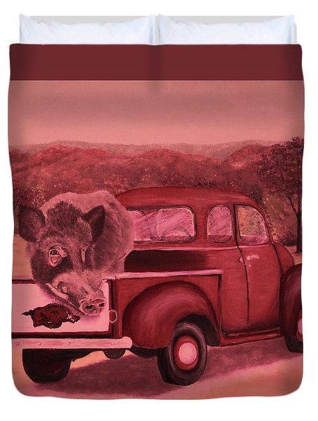Ridin' With Razorbacks 3 Duvet Cover by Belinda Nagy
