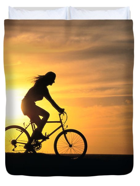 Riding At Sunset Duvet Cover by Dave Fleetham - Printscapes