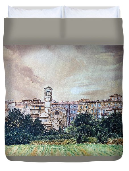 Rieti Panoramic Duvet Cover by Michel Angelo Rossi