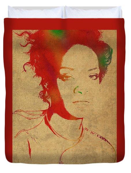 Rihanna Watercolor Portrait Duvet Cover by Design Turnpike