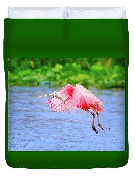 Rise Of The Spoonbill Duvet Cover by Mark Andrew Thomas