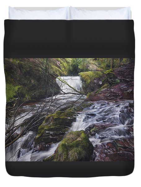River At Talybont On Usk In The Brecon Beacons Duvet Cover by Harry Robertson