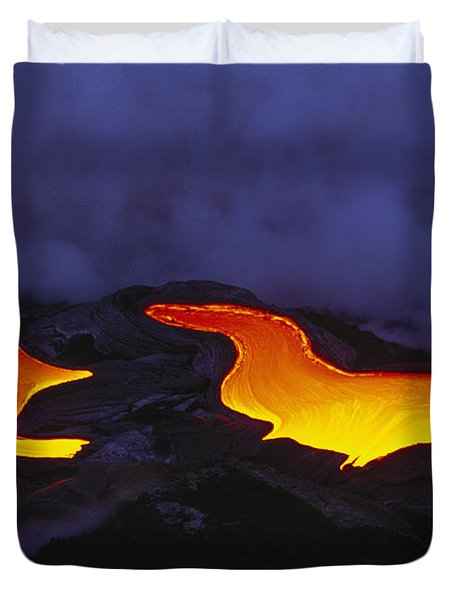 River Of Lava Duvet Cover by Peter French - Printscapes