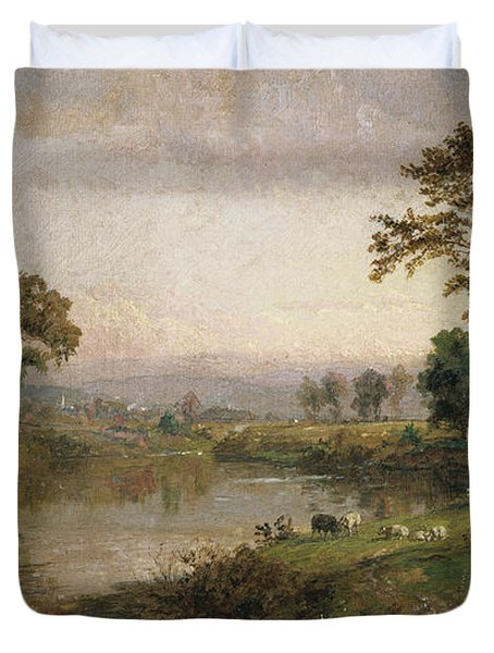 Riverscape In Early Autumn Duvet Cover by Jasper Francis Cropsey