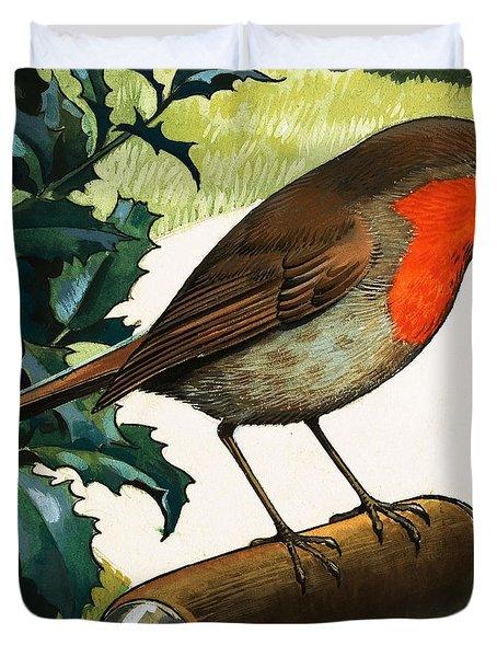Robin Redbreast Duvet Cover by English School