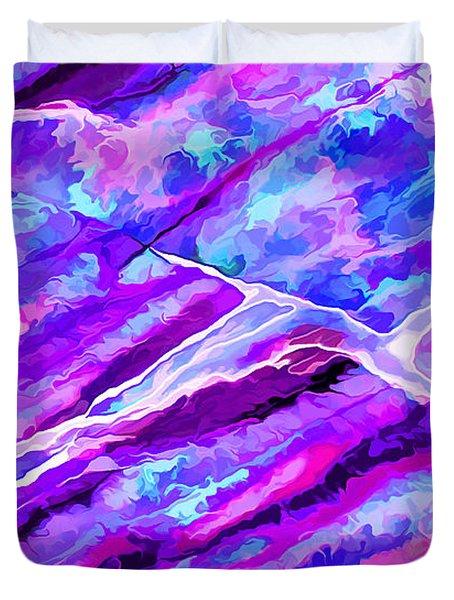 Rock Art 16 In Cyan Blue N Purple Duvet Cover by Bill Caldwell -        ABeautifulSky Photography
