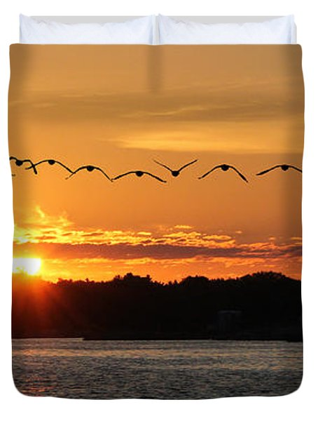 Rock Island Lighthouse Duvet Cover by Lori Deiter