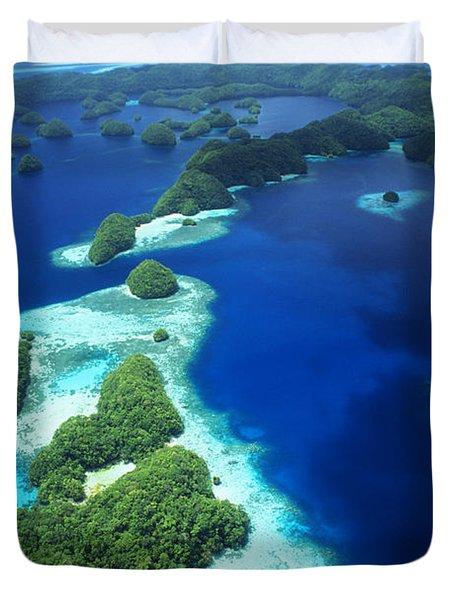 Rock Islands Aerial Duvet Cover by Allan Seiden - Printscapes