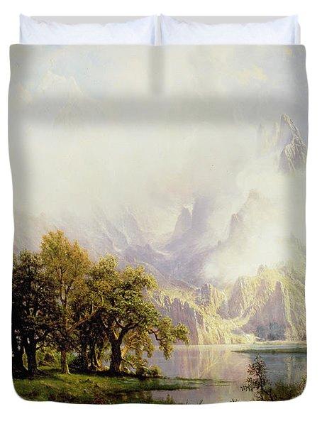 Rocky Mountain Landscape Duvet Cover by Albert Bierstadt