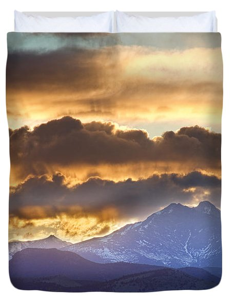 Rocky Mountain Springtime Sunset 3 Duvet Cover by James BO  Insogna