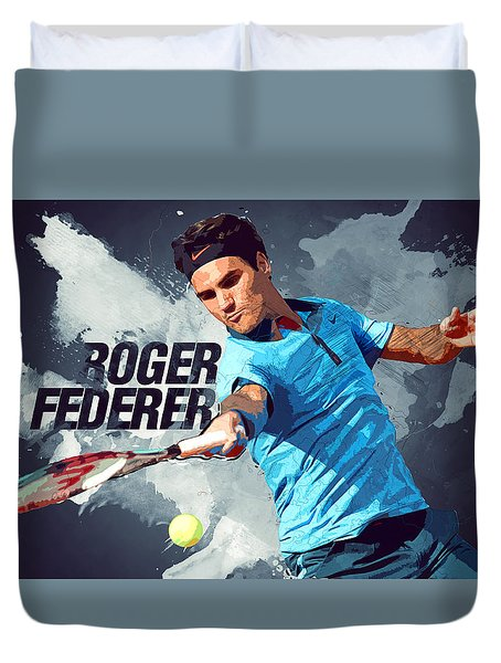 Roger Federer Duvet Cover by Semih Yurdabak