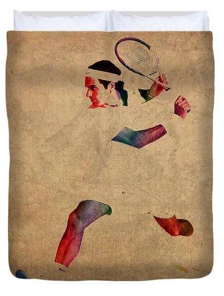 Roger Federer Watercolor Portrait On Worn Canvas Duvet Cover by Design Turnpike