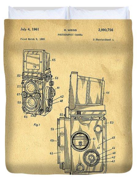 Rolleiflex Medium Format Twin Lens Reflex Tlr Patent Duvet Cover by Edward Fielding
