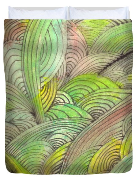 Rolling Patterns In Greens Duvet Cover by Wayne Potrafka
