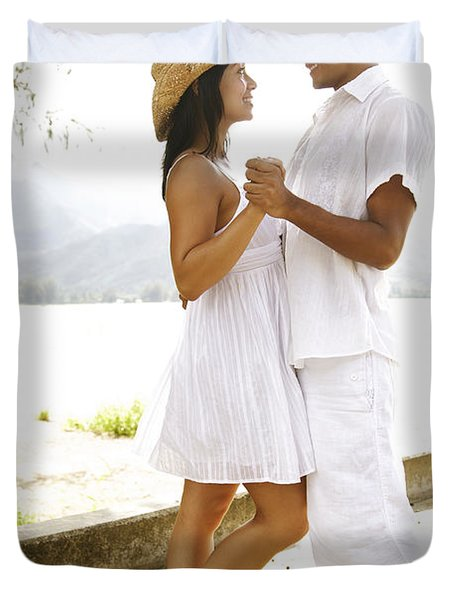 Romantic Couple In White Duvet Cover by Kicka Witte - Printscapes
