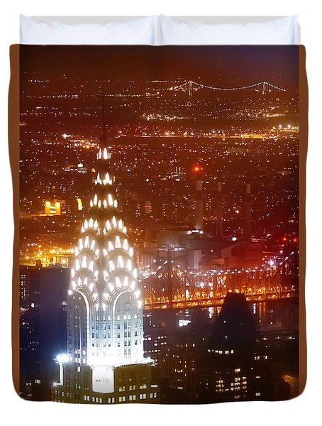 Romantic Manhattan Duvet Cover by Az Jackson