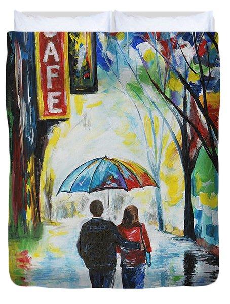Romantic Night Out Duvet Cover by Leslie Allen