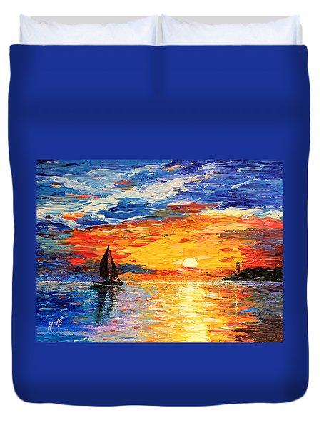 Romantic Sea Sunset Duvet Cover by Georgeta  Blanaru