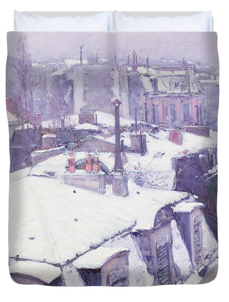 Roofs Under Snow Duvet Cover by Gustave Caillebotte