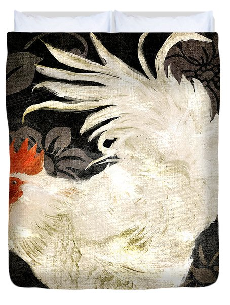 Rooster Damask Dark Duvet Cover by Mindy Sommers