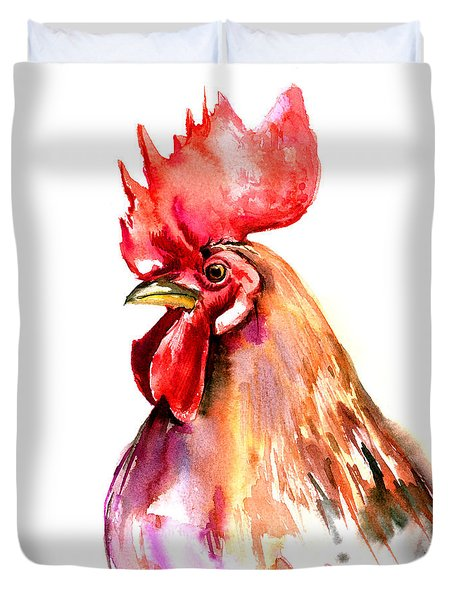 Rooster Portrait Duvet Cover by Suren Nersisyan