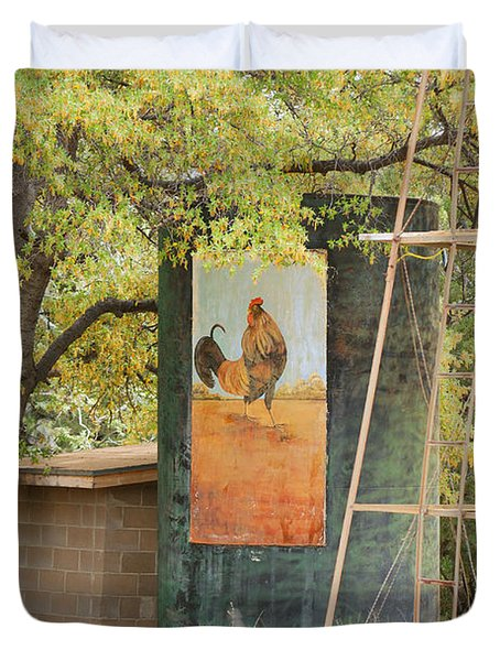 Rooster Water Tank Duvet Cover by Donna Greene