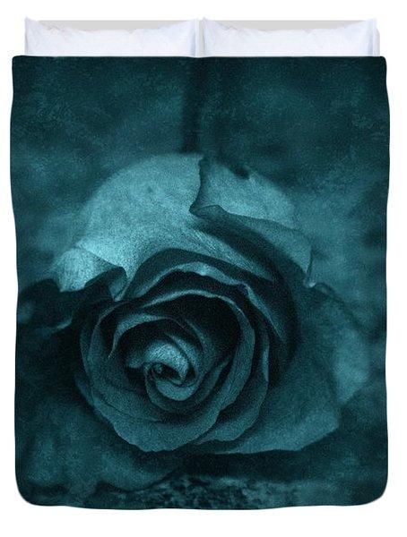 Rose - Green Duvet Cover by Angie Tirado