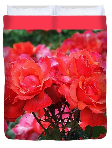 Rose Abundance Duvet Cover by Rona Black