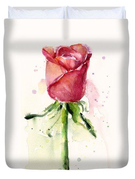 Rose Watercolor Duvet Cover by Olga Shvartsur