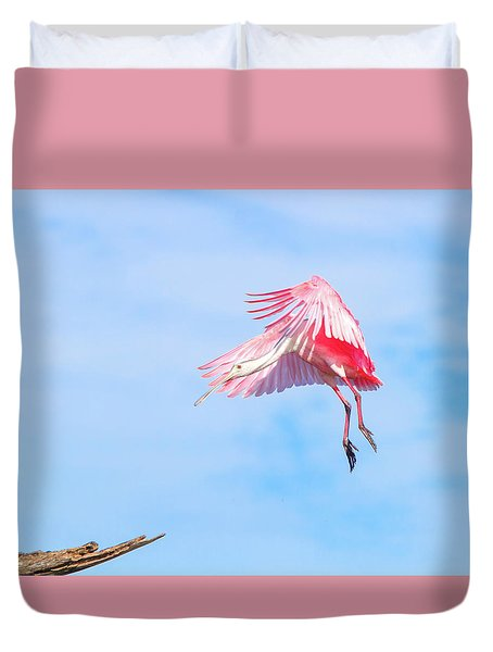 Roseate Spoonbill Final Approach Duvet Cover by Mark Andrew Thomas