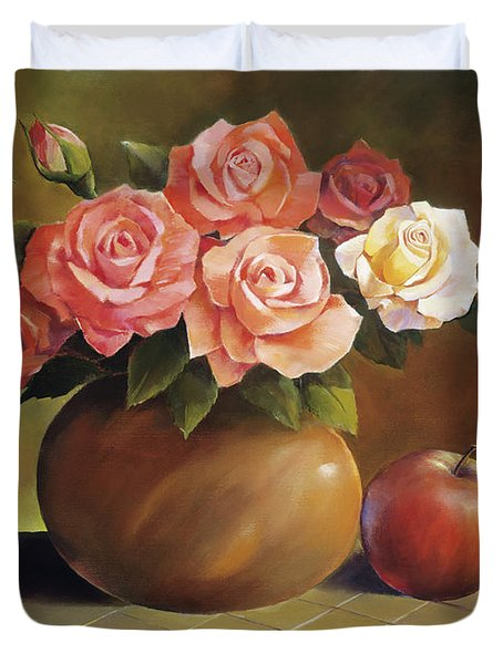 Roses And Apple Duvet Cover by Han Choi - Printscapes
