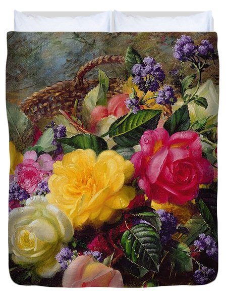 Roses By A Pond On A Grassy Bank  Duvet Cover by Albert Williams
