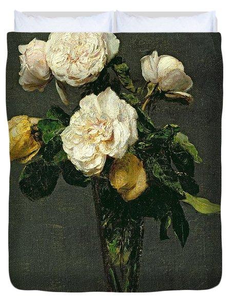 Roses In A Champagne Flute Duvet Cover by Ignace Henri Jean Fantin-Latour