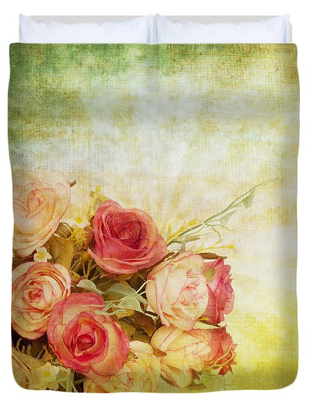roses pattern retro design Duvet Cover by Setsiri Silapasuwanchai