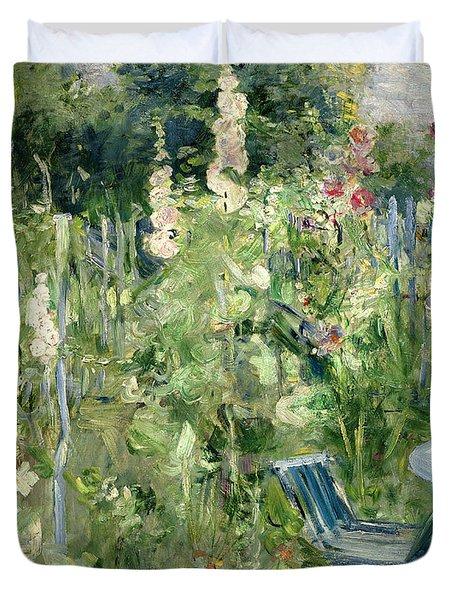 Roses Tremieres Duvet Cover by Berthe Morisot
