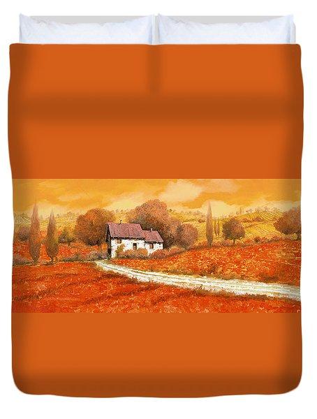 Rosso Papavero Duvet Cover by Guido Borelli
