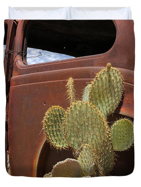 Route 66 Cactus Duvet Cover by Mike McGlothlen