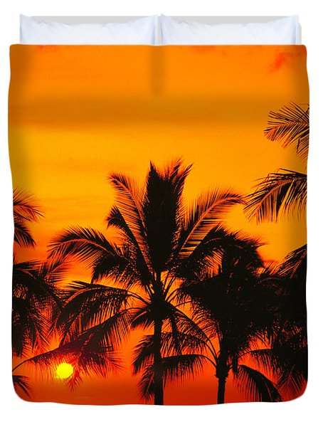 Row Of Palms Duvet Cover by Bill Schildge - Printscapes