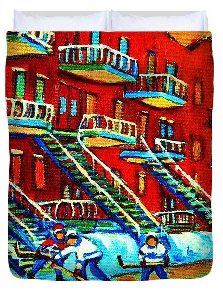 Rowhouses And Hockey Duvet Cover by Carole Spandau
