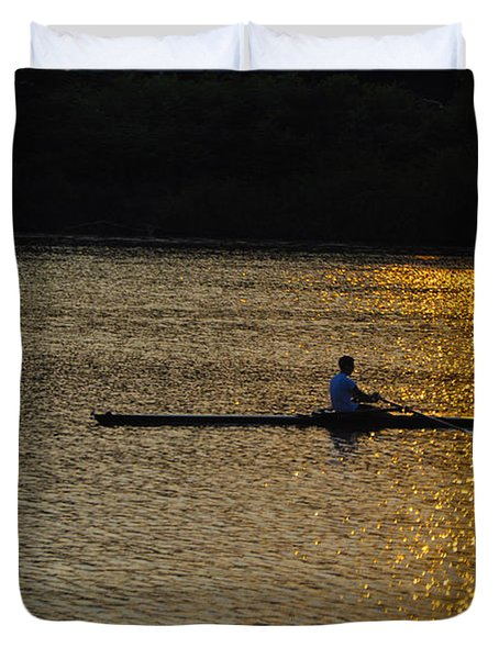 Rowing At Sunset Duvet Cover by Bill Cannon
