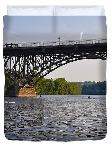 Rowing Under The Strawberry Mansion Bridge Duvet Cover by Bill Cannon