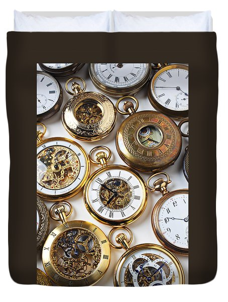 Rows Of Pocket Watches Duvet Cover by Garry Gay