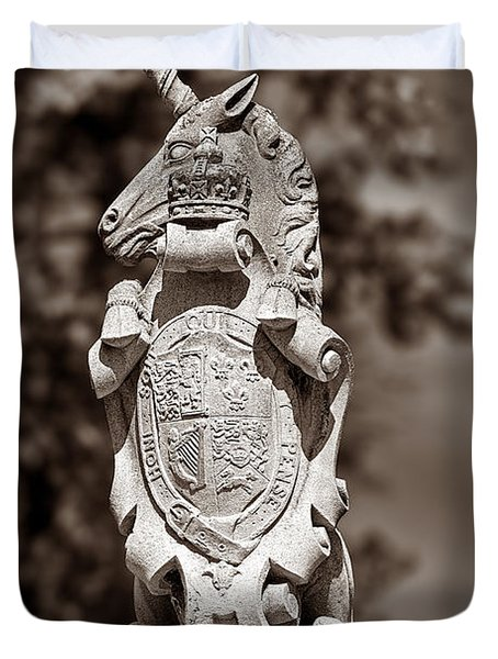 Royal Unicorn - Sepia Duvet Cover by Christopher Holmes